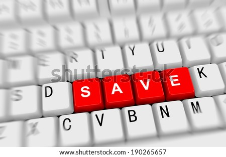 3d rendering of white computer keyboard  red button of word save