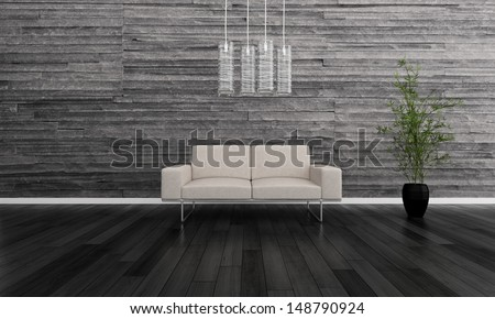 3D rendering of white couch against gray stone wall - stock photo