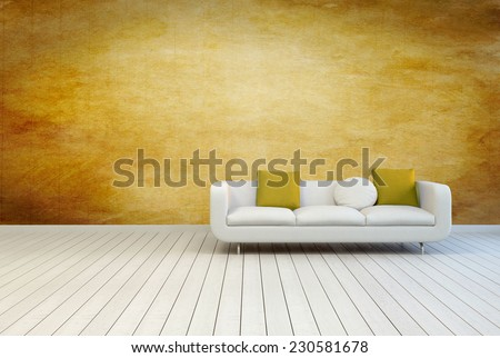 3D Rendering of White Couch Furniture with Pillows on an Empty Architectural Room with Wooden Wall and Off White Floor. - stock photo