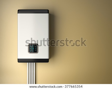 3d rendering of white electric boiler with smart control on the  wall. Energy saving concept - stock photo