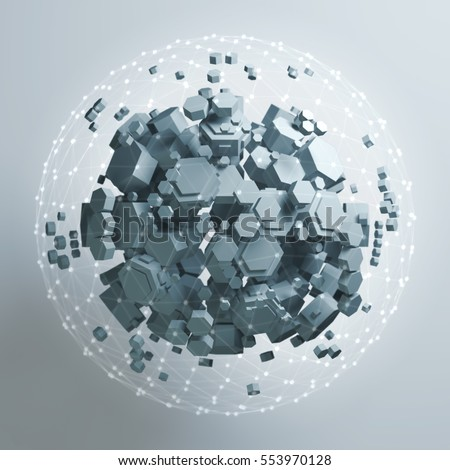 3D rendering of white hexagonal prism. Sci-fi background. Abstract sphere in empty space. High quality render.