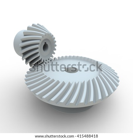 3D rendering of white nylon plastic crown and pinion spiral bevel gears on a white background - stock photo