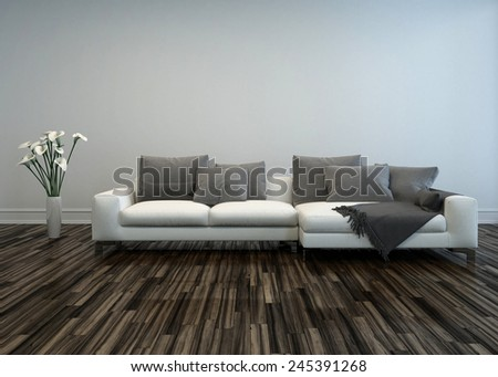 3D Rendering of White Sofa with Grey Cushions and Flower Vase of Lilies in Room with Hardwood Floor - stock photo