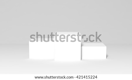 3d rendering of Winners podium, first, second and third place - stock photo