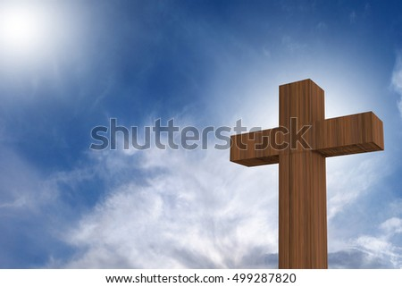 3D rendering of wooden cross on a blue sky with sunlight, god/love concept