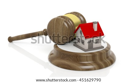 3D rendering of wooden gavel and house symbol, isolated on white background. - stock photo
