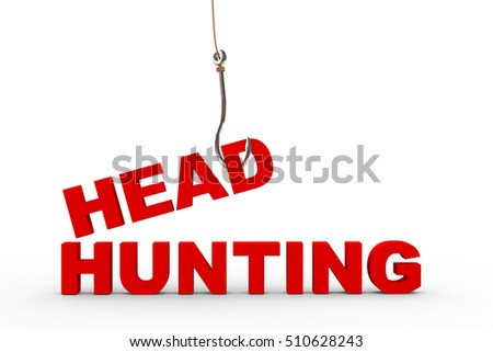 3d rendering of word head attached to a fishing hook. Concept of headhunting