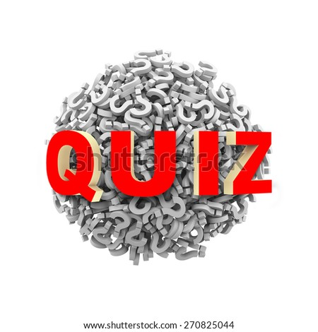 3d rendering of word quiz on sphere ball made up of question mark symbol sign - stock photo