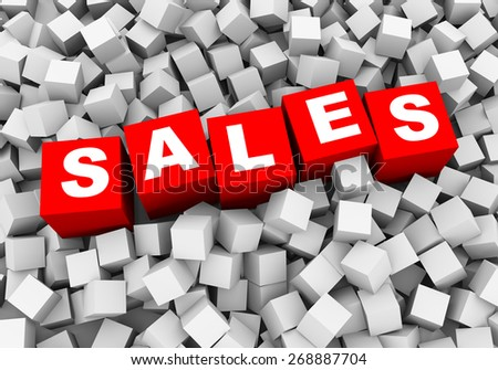 3d rendering of word text sales and abstract cubes boxes background - stock photo