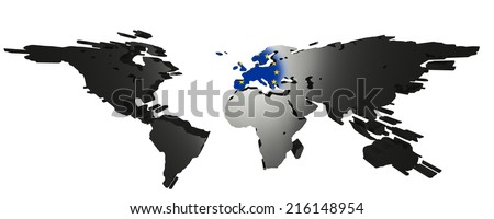 3D-Rendering of world map on white background. Europe is in the center an the european flag is visible. - stock photo