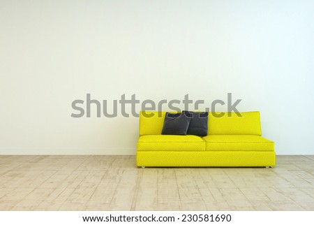 3D Rendering of Yellow Couch Furniture with Black Pillows on an Empty Living Room with Off White Wall Background and Wooden Floor Design. - stock photo