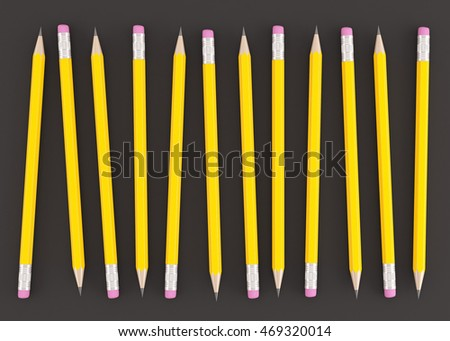 3d Rendering of yellow pencils on black background