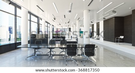 3d rendering office workplace