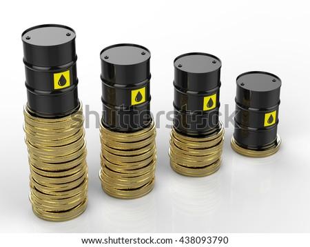 3d rendering oil price falling  - stock photo