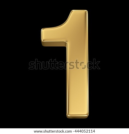 3d rendering, olden shining metallic number collection - one, isolated on black - stock photo
