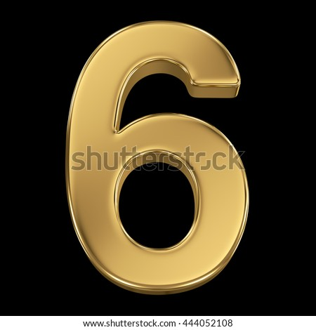 3d rendering, olden shining metallic number collection - six, isolated on black - stock photo