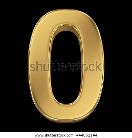 3d rendering, olden shining metallic number collection - zero, isolated on black - stock photo