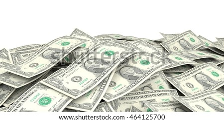 3d rendering one dollar banknotes as background