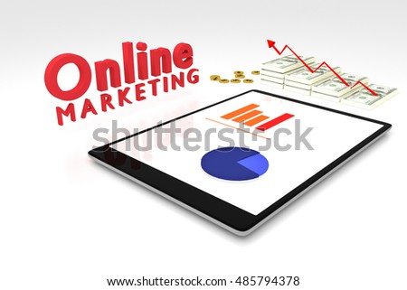 3D rendering : online marketing concept, computer tablet with a bar graph on screen and dollars money with red arrow grow up,text online marketing,illustration