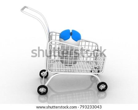3d rendering Online Shopping Concept. Shopping Cart connected to a Computer Mouse