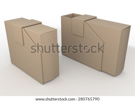 3D Rendering Original Brown New Packaging Design for Your Products in Isolated Background with Work paths, Clipping Paths Included. - stock photo