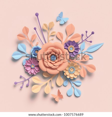3d rendering paper flowers pastel color 1007576689 3d rendering paper flowers pastel color palette botanical background isolated clip art voltagebd Image collections