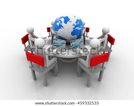3d rendering people - men, person at conference table with globe . Partnership