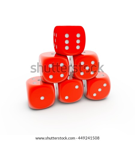3D Rendering Pile of red playing dices  - stock photo