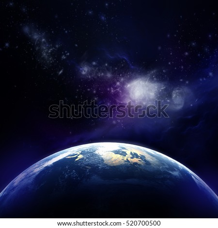 3d rendering: Planet Earth in outer space. Imaginary view of planet earth in a star field.