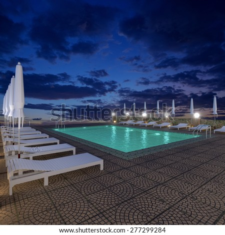 3d rendering pool terrace in the evening. - stock photo