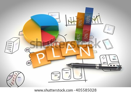 3D Rendering project planning and development, drawing with sketches - stock photo