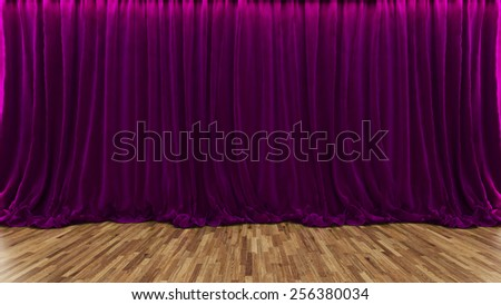 3d rendering purple theater and cinema curtain with parquet floor by Sedat SEVEN - stock photo