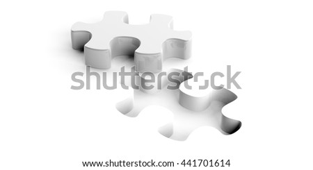 3d rendering puzzle cut on white background