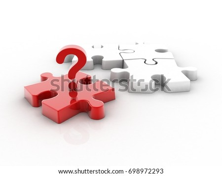 3d rendering Puzzle with question mark