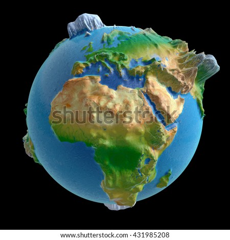 3D rendering: raised-relief world globe with Africa in the front