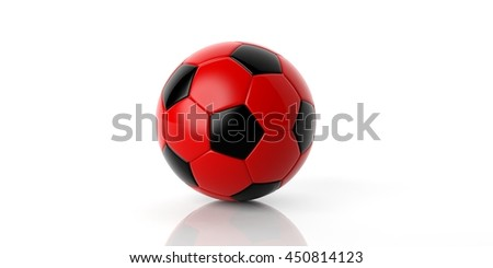 3d rendering red and black soccer football ball