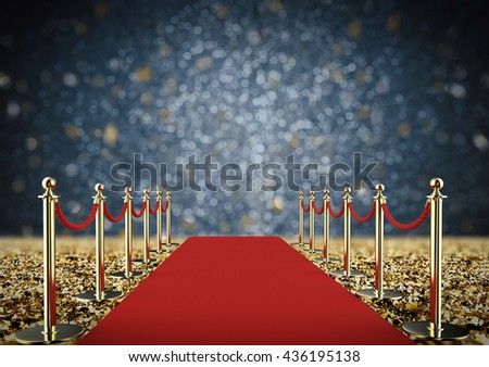 3d rendering red carpet and rope barrier - stock photo
