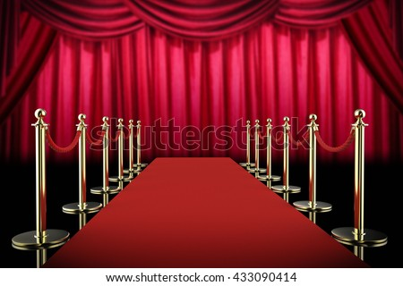 3d rendering red carpet and rope barrier with red curtain background