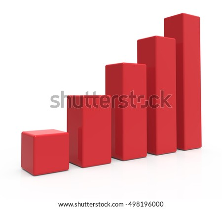 3d rendering red colored bar chart, isolated white background, left leaning