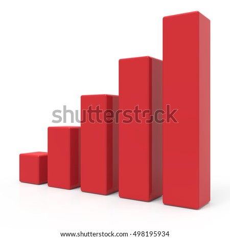 3d rendering red colored bar chart, isolated white background, right leaning