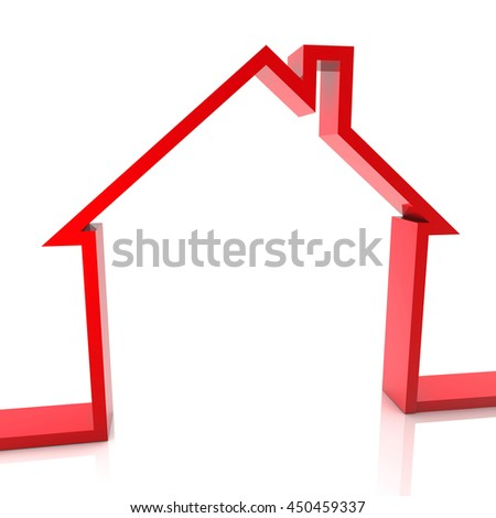 3d Rendering Red house outline