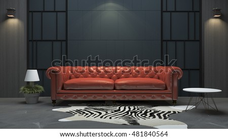 3d Rendering Red Leather Sofa In Loft Style Living Room