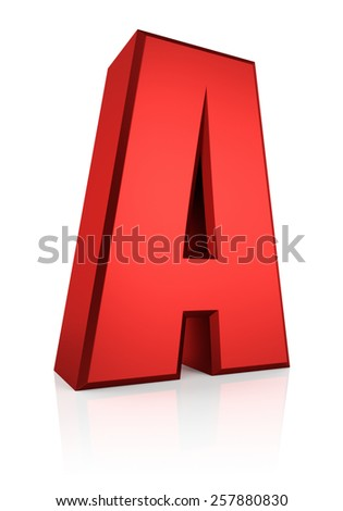 3d rendering red letter A isolated on white background  - stock photo