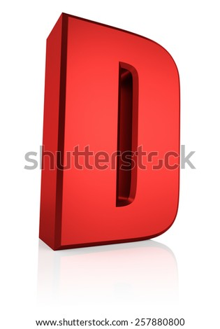 3d rendering red letter D isolated on white background  - stock photo