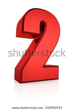3d rendering red number 2 isolated on white background - stock photo