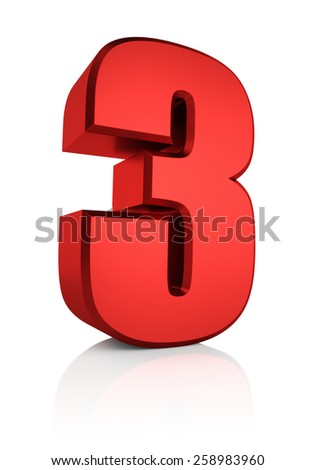 3d rendering red number 3 isolated on white background - stock photo