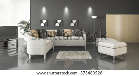 3d rendering reflection floor style living room - stock photo