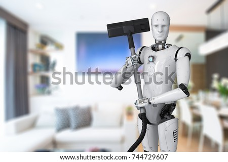 3d rendering robot holding carpet sweeper
