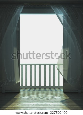 3d rendering.Room with doors open to the balcony, illuminated by the morning sun. Curtains, fluttering in the wind