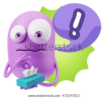 3d Rendering Sad Character Emoticon Expression saying Exclamation Mark with Colorful Speech Bubble.